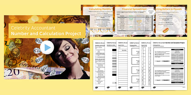 Celebrity Accountant Number and Calculation Project Pack - celebrity, accountant, number, calculations, project