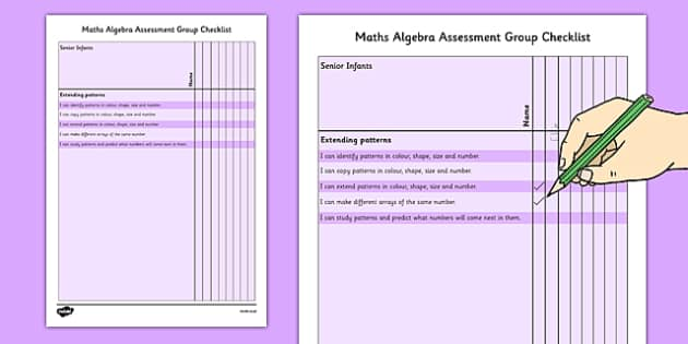 1999 Curriculum Senior Infants Maths Algebra Assessment Group Checklist - roi, irish, gaeilge, assessment checklist, maths, senior infants, algebra