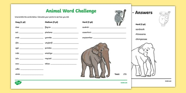 Animals scrambled Scrambled Word Challenge - animal, creature, jumbled, sort, order, writing, spelling, spell, activity,