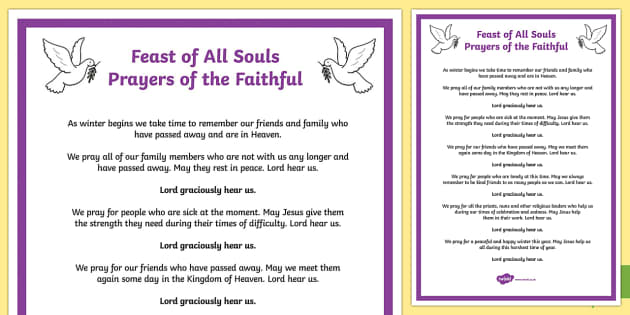 Feast of All Souls Prayers of the Faithful Print-Out
