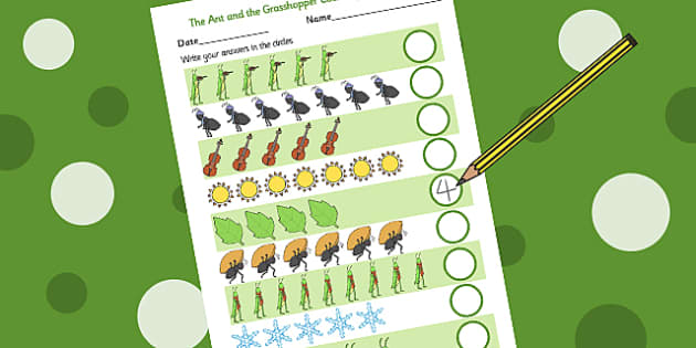 The Ant and the Grasshopper Counting Sheet - Ant, Count, Numbers