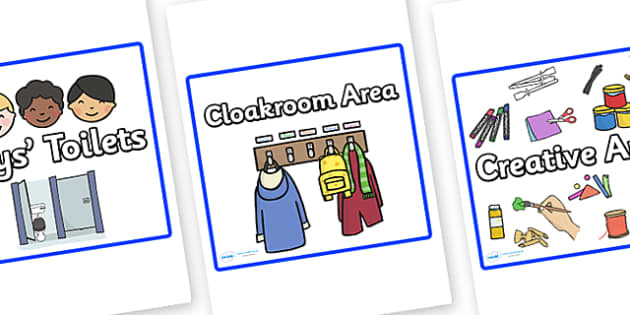 Editable Square Classroom Area Signs (Blue) - Classroom Area Signs, KS1, Banner, Foundation Stage Area Signs, Classroom labels, Area labels, Area Signs, Classroom Areas, Poster, Display, Areas