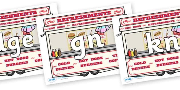 Silent Letters on Fairground Food Vans - Silent Letters, silent letter, letter blend, consonant, consonants, digraph, trigraph, A-Z letters, literacy, alphabet, letters, alternative sounds
