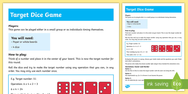 Target Dice Game - Maths Warm-up gamesDice gamesStage 5Stage 6Stage 7Stage 8additionsubtractionoperations