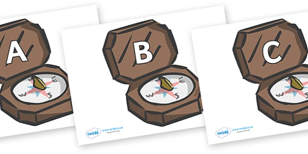 A-Z Alphabet on Compasses - A-Z, A4, display, Alphabet frieze, Display letters, Letter posters, A-Z letters, Alphabet flashcards