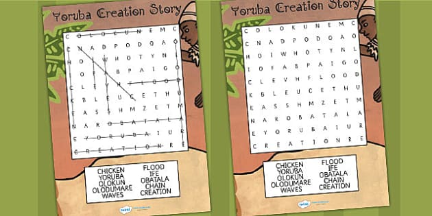 Kingdom of Benin: Yoruba Creation Story Differentiated Wordsearch