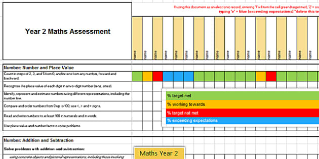 2014 Curriculum Year 2 Maths Assessment Spreadsheet - numeracy