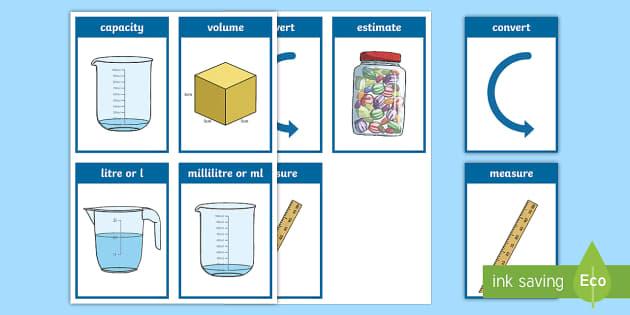 CfE First Level Numeracy and Mathematics Measurement (Capacity and Volume) Keyword Flashcards - Wall Display, keywords, MNU 1-11a, MNU 1-11b, language of maths, vocabulary, word wall,Scottish