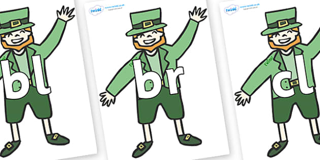 Initial Letter Blends on Leprechauns - Initial Letters, initial letter, letter blend, letter blends, consonant, consonants, digraph, trigraph, literacy, alphabet, letters, foundation stage literacy