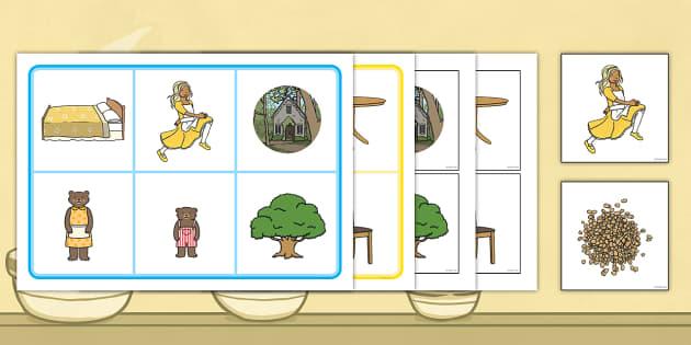 Goldilocks and the Three Bears Matching Cards and Board - goldilocks and the three bears, golidlocks picture matching game, goldilocks matching activity