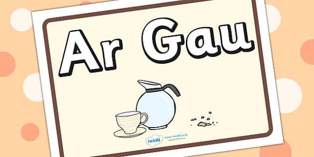 Arwydd Ar Gau 'Caffi' - roleplay, signs, wales