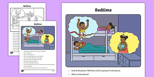 Bedtime Oral Language Activity Sheet-Irish, worksheet