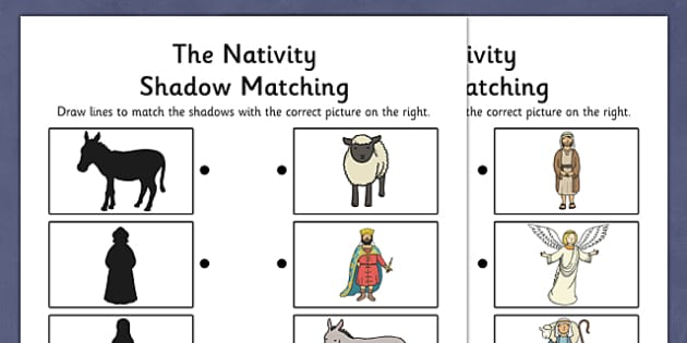 Nativity Shadow Matching Activity Sheet- nativity, shadow, matching
