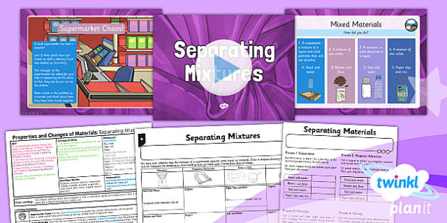 PlanIt Science Year 5 Properties And Changes Of Materials Lesson 5 Separating Mixtures Lesson Pack - science, year 5, materials, topic, planning, resources, unit, opaque, transparent, hard, soft, rough, smooth, dissolving, solids, liquids, gases