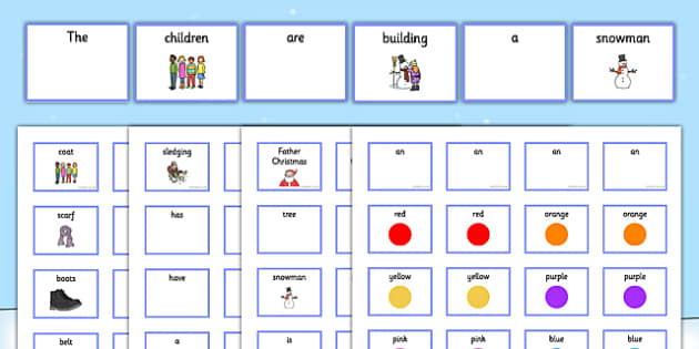 Winter Pictures with Matching Sentence Building Cards - sentence building, winter sentence build, setence construction, sentence structure