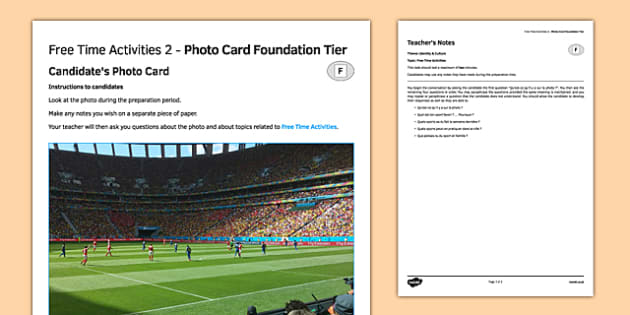Les loisirs 2 Carte photo Foundation Tier - french, Photo, picture, card, foundation, free time, activities, leisure, temps, libre, passe-temps, hobbies
