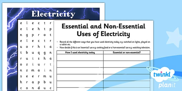 PlanIt - Science Year 4 - Electricity Home Learning Tasks - planit, science, year 4, electricity
