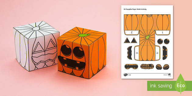 Simple Make Your Own 3D Pumpkin Halloween Paper Craft