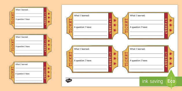 Exit Ticket Writing Template - Classroom Management and Organization, exit ticket, exit, ticket, question, learning, activity