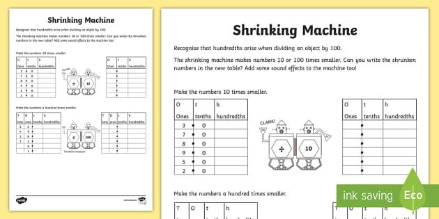 Shrinking Machine Activity Sheet - Learning from Home Maths Workbooks Worksheet,, divide by 10, divide by 100, place value, decimal fra