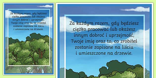 Plakat motywacyjny Drzewo osiągnięć po polsku
