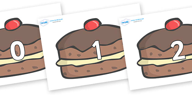 Numbers 0-50 on Chocolate Buns - 0-50, foundation stage numeracy, Number recognition, Number flashcards, counting, number frieze, Display numbers, number posters