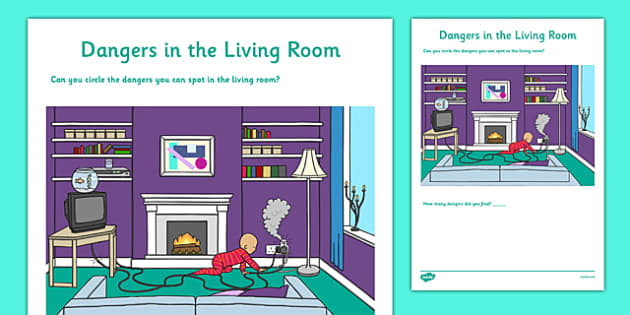 Dangers in the Living Room Activity Sheet - CfE, Early Level, SHANARRI, safety, health and wellbeing, safety in the home, worksheet