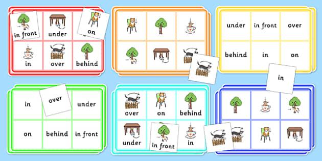 Preposition Bingo - positions, SEN, SEN games, games, visual aid, prepositions