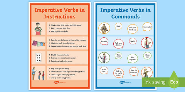 Imperative Verb Command and Instructions Display Posters - command words, verbs, bossy verbs, put, take, shake, instructions, commands.