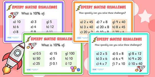 Speedy Maths Challenge Cards - maths, numeracy, maths games