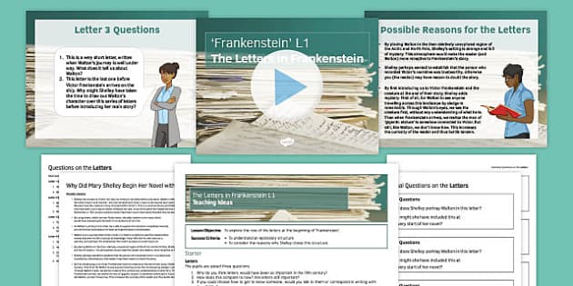Frankenstein Lesson Pack 1: The Letters - letters, frankenstein, lesson 1, lesson, 1