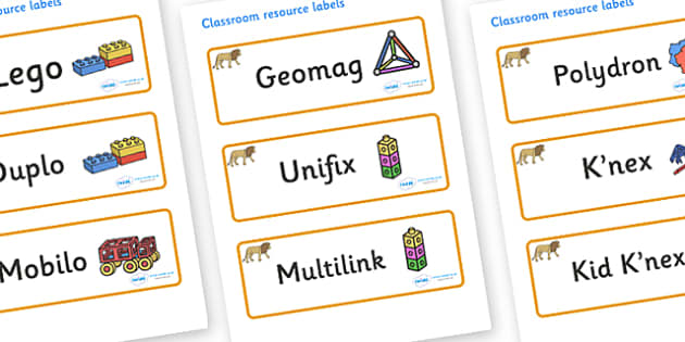 Lion Themed Editable Construction Area Resource Labels - Themed Construction resource labels, Label template, Resource Label, Name Labels, Editable Labels, Drawer Labels, KS1 Labels, Foundation Labels, Foundation Stage Labels
