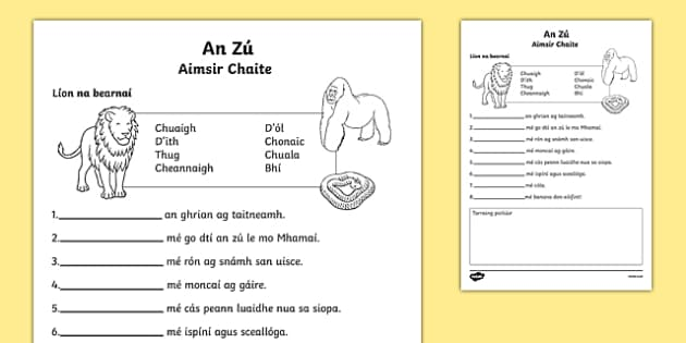 An Zú, Aimsir Chaite Activity Sheet, worksheet