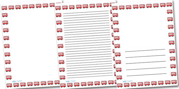 Red Bus Portrait Page Borders Portrait Page Borders Page – Border Paper Template