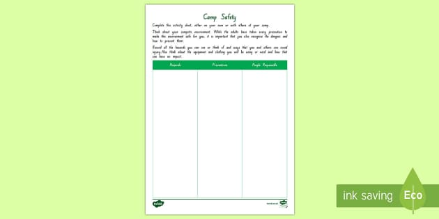 NZ Camp Safety and Hazards Activity Sheet - New Zealand Back to School, camp, camping trip, safety, back to school, responsibilities and consequ