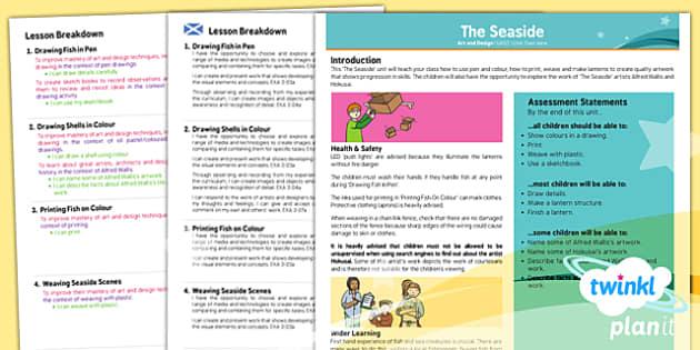 PlanIt - Art UKS2 - The Seaside Planning Overview CfE - planit, art, planning, overview, cfe