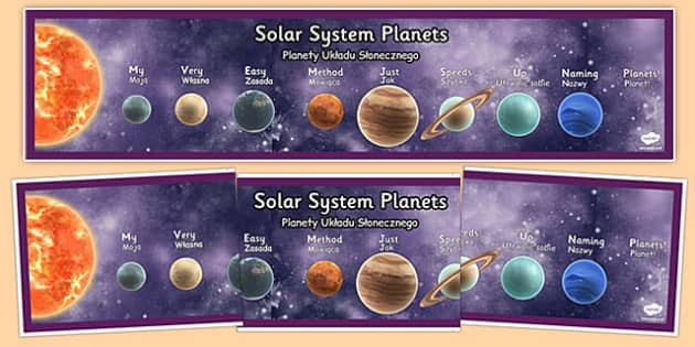 Mnemonic Solar System Planets Display Banner Detailed Images Polish Translation - polish, mnemonic, solar system, planets, display banner
