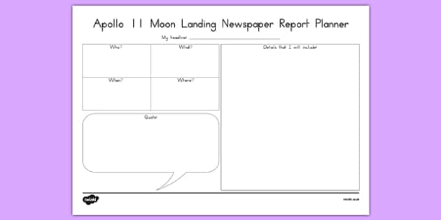 Apollo 11 Newspaper Report Planner - australia, apollo 11, newspaper, report