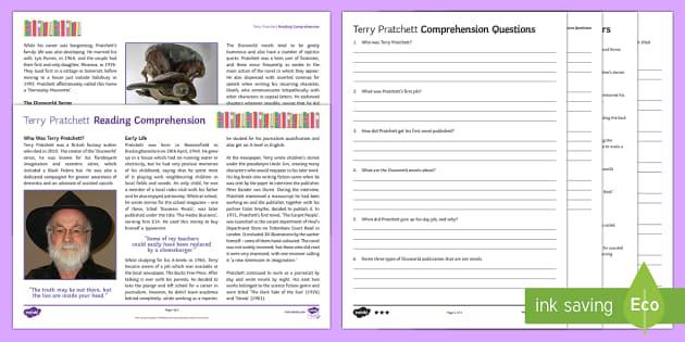 Terry Pratchett Differentiated Reading Comprehension Activit - Comprehensions KS3/4 English