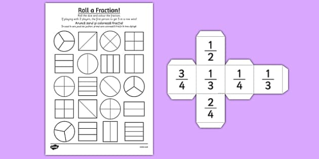 Year 2 Roll a Fraction Activity Sheet Romanian Translation - romanian, activities, fractions, worksheet