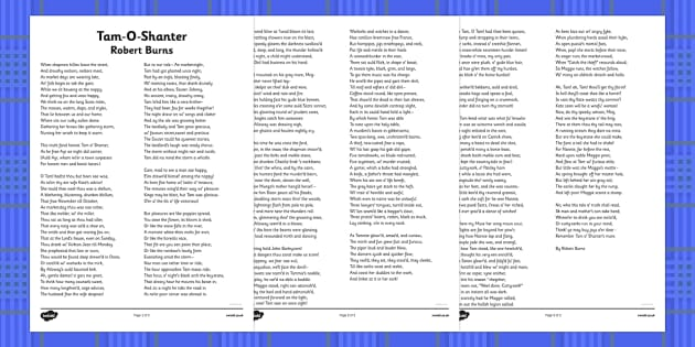 Tam-O-Shanter Robert Burns Poem Print Out - cfe, tam-o-shanter, robert burns, burns night, print out, poem