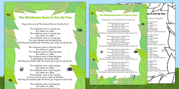 The Minibeasts Came in Two By Two Song -bugs, spider, slug, beetle, earwig, grasshopper, moth, minibeasts