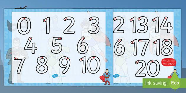 Superhero Themed Number Formation 0-20 - superhero, themed, number formation, 0-20, number, formation