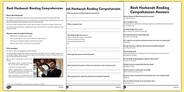 Rosh Hashanah Reading Comprehension Activity - rosh hashanah, comprehension