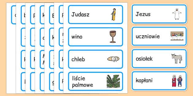 Karty ze słownictwem Wielkanoc po polsku - święta