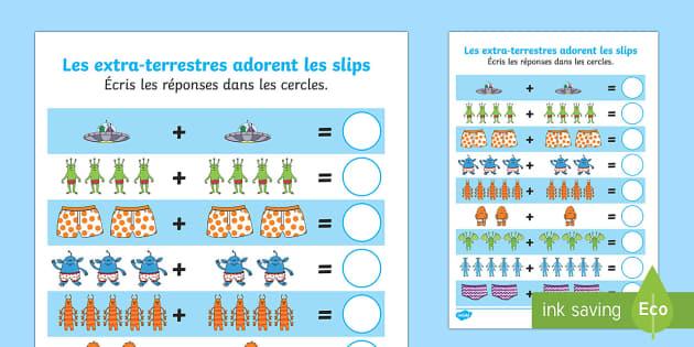 Les extra terrestres adorent les slips Feuille d'addition jusqu'à 10 - Les extra-terrestres adorent les slips, addition, compter, opérations ,French