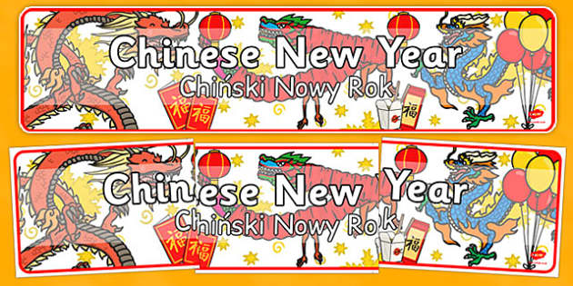 Chinese New Year Display Banner Polish Translation - polish, chinese new year, display banner, display, banner