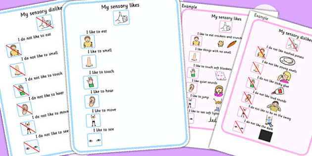 My Sensory Preferences Visual Support Cards - senses, SEN, card