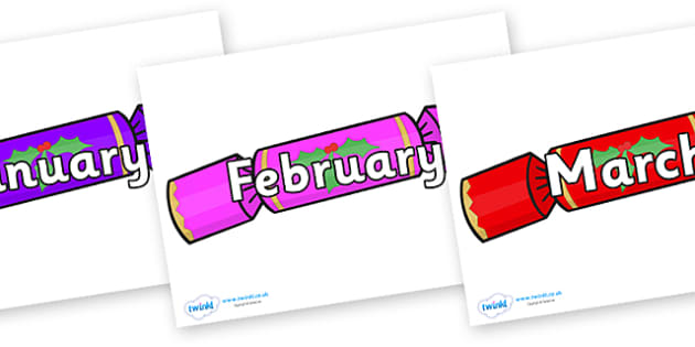 Months of the Year on Multicoloured Crackers - Months of the Year, Months poster, Months display, display, poster, frieze, Months, month, January, February, March, April, May, June, July, August, September