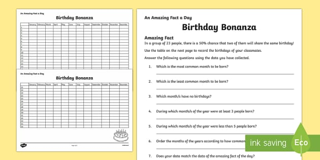 Birthday Bonanza Activity Sheet